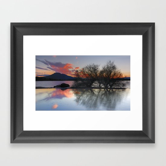 Trees in the water at the red sunset Framed Art Print