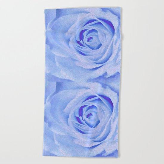 Blue Watercolor Rose Beach Towel