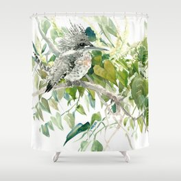 Crested Kingfisher and Japanese Knotweed Shower Curtain