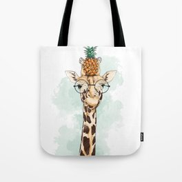 Intelectual Giraffe with a pineapple on head Tote Bag