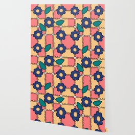 Retro Doodle Flower Style Quilt - Coral Yellow Dark Blue Wallpaper