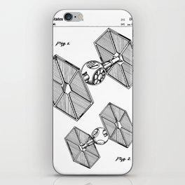 Starwars Tie Fighter Patent - Tie Fighter Art - Black And White iPhone Skin