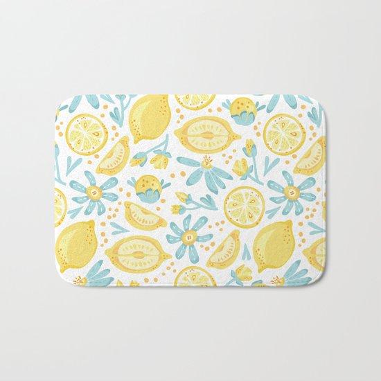 Lemon pattern White Bath Mat