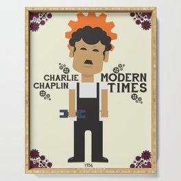 Charlie Chaplin, Modern Times, minimal movie poster Serving Tray