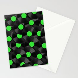 Vinyl Records Pattern (Green) Stationery Cards