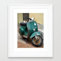 vespa Framed Art Prints featuring Vespa by aeolia