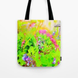 Abstract Spring Flowers Bleeding Hearts and Virginia Bluebells Tote Bag