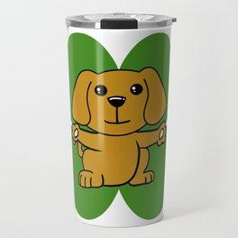 Dog On Four Leaf Clover- St. Patricks Day Funny Travel Mug