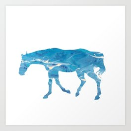 Light Blue Marble Thoroughbred Horse Silhouette Art Print