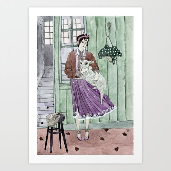 Girl with a sheep Art Print