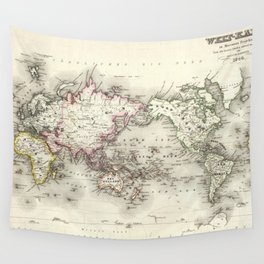Vintage Map of The World (1844) Wall Tapestry
