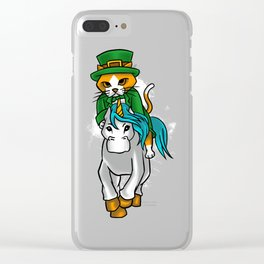 Leprechaun Cat Riding A Unicorn St. Patricks Clear iPhone Case