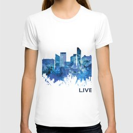 Liverpool England Skyline Blue T-shirt