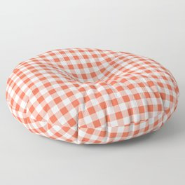 Living Coral Color of the Year Orange and White Buffalo Check Plaid Floor Pillow