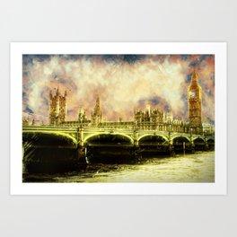 Abstract Golden Westminster Bridge in London Art Print