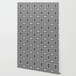 Black and white op art pattern with stars and striped lines Wallpaper