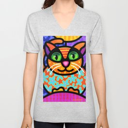 Contented Cat Unisex V-Neck