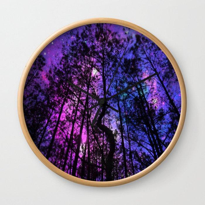 Black Trees Purple Fuchsia Blue space Wall Clock