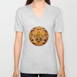 Golden Floral Tapestry Unisex V-Neck