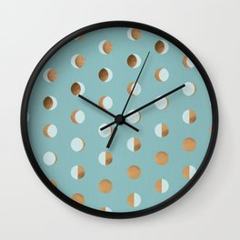 The Lunar Cycle • Phases of the Moon – Copper & Robin's Egg Blue Palette Wall Clock