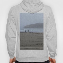 Walking on a foggy beach Hoody