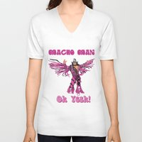 randy c V-neck T-shirts featuring Macho Man Randy Savage by Milos Cakovan