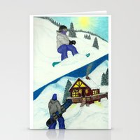 snowboarding Stationery Cards featuring Snowboarding ; Putting In Your Eight Hours by N_T_STEELART