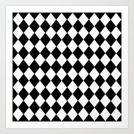 HARLEQUIN BLACK AND WHITE PATTERN #2 Art Print