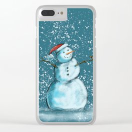 Frosty snowman and his little bird Clear iPhone Case