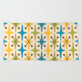Mid Century Modern Abstract Star Pattern 441 Yellow Brown Turquoise Chartreuse Beach Towel
