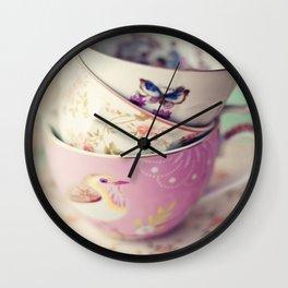 Tea Cup Stack Wall Clock
