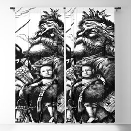 Vintage Style Black and White Illustration Of Santa Claus Blackout Curtain