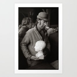Farmer and Phrenology, Michigan Farm Auction, 1975. Art Print