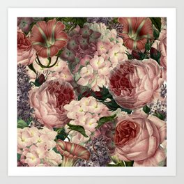 Vintage & Shabby Chic Pink Dark Floral Roses Lilacs Flowers Watercolor Pattern Art Print