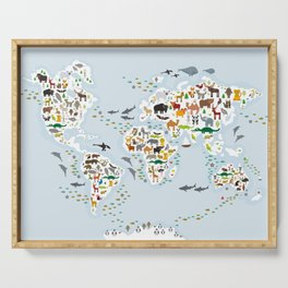 Cartoon animal world map for children and kids, Animals from all over the world Serving Tray