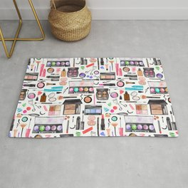 Watercolor Makeup Shelfie Pattern Rug