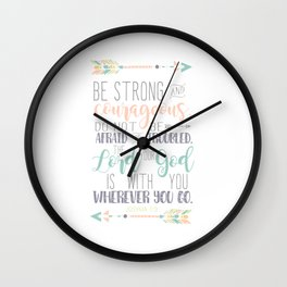 Joshua 1:9 Bible Verse Wall Clock