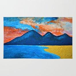 Evening Tide at Murlough - Abstract Seascape Oil Painting Rug
