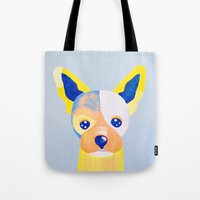 chihuahua Tote Bags featuring Chihuahua  by Adriannedesignss