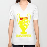 manchester V-neck T-shirts featuring Champions League Manchester by Sport_Designs