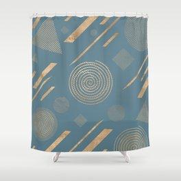 Blueprint Geometric Pattern 6 Shower Curtain