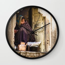 Water lady - Jaipur - Rajastan - India Wall Clock