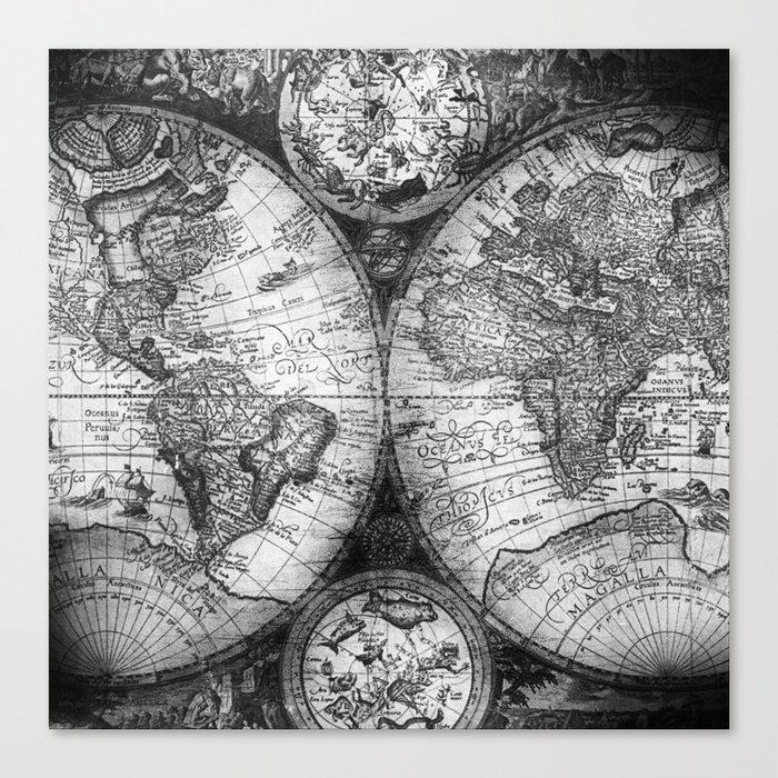 World map antique vintage black and white canvas print by world map antique vintage black and white canvas print gumiabroncs Images