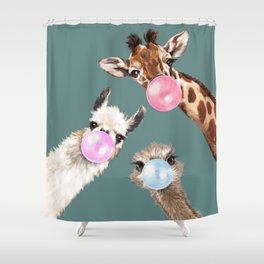 Bubble Gum Gang Dark Green Shower Curtain