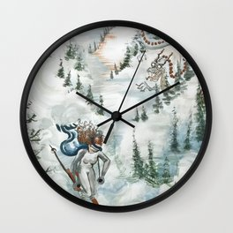 Winter Ski Dragon Wall Clock