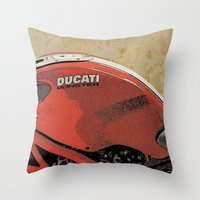 ducati Throw Pillows featuring Ducati Monster by Larsson Stevensem