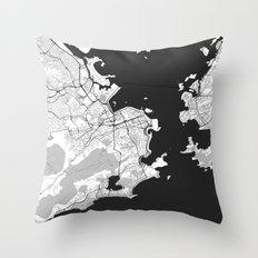 Rio de Janeiro City Map Gray Throw Pillow