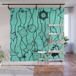 Turquoise bright Christmas pattern Christmas pattern . Wall Mural