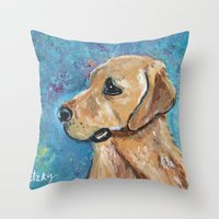 lab Throw Pillows featuring Yellow Lab by gretzky