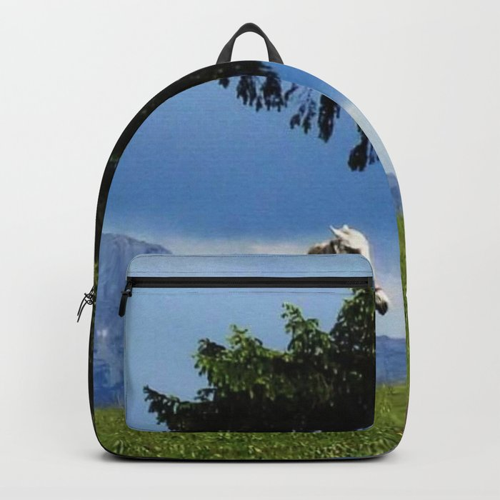white horse in beautiful mountain view Backpack